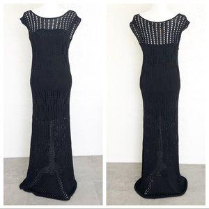 Catherine Malandrino Black Crochet Evening Dress L